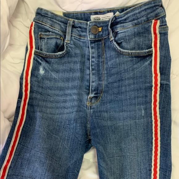 Zara Denim - Zara TRF high rise skinny jeans with red stripe
